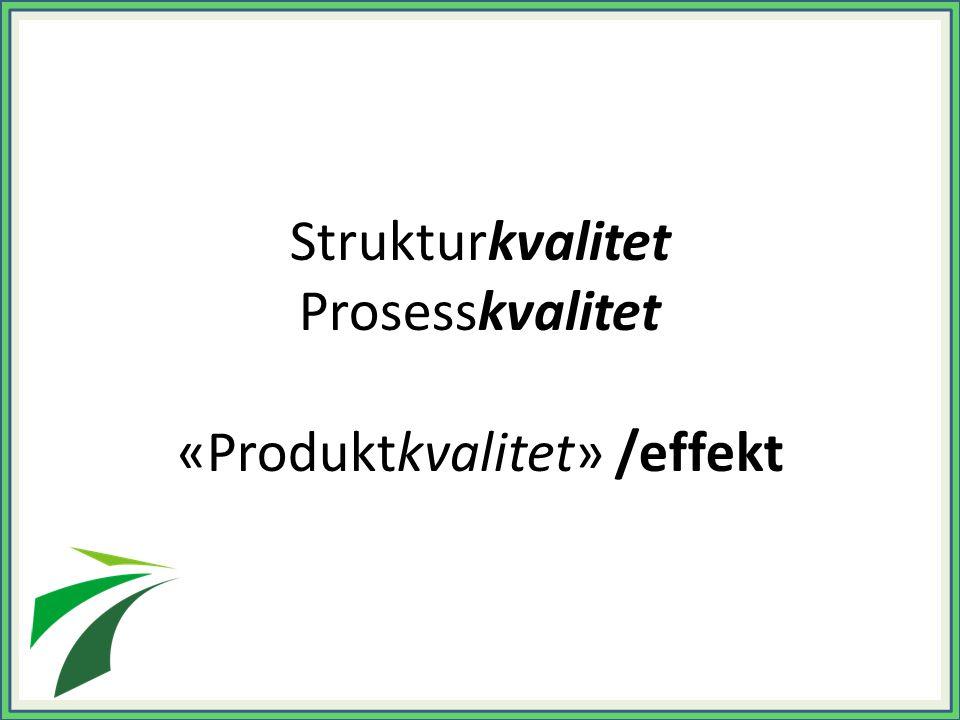 Strukturkvalitet Prosesskvalitet «Produktkvalitet» /effekt
