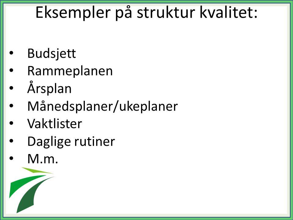 Eksempler på struktur kvalitet: Budsjett Rammeplanen Årsplan Månedsplaner/ukeplaner Vaktlister Daglige rutiner M.m.