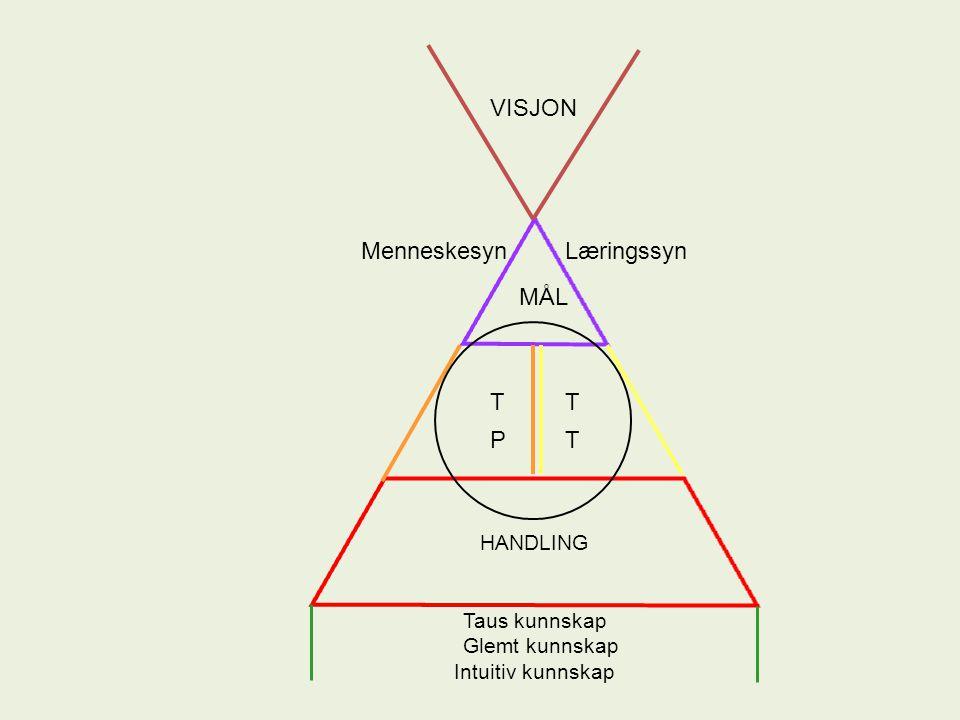 HANDLING T MenneskesynLæringssyn MÅL T P T VISJON Taus kunnskap Glemt kunnskap Intuitiv kunnskap