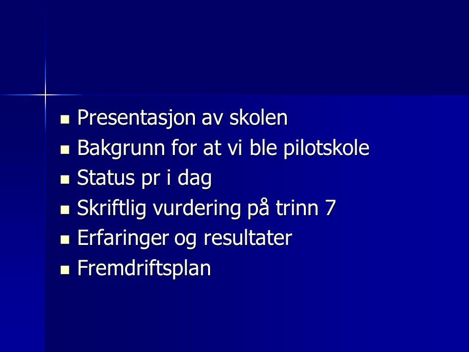 Presentasjon av skolen Presentasjon av skolen Bakgrunn for at vi ble pilotskole Bakgrunn for at vi ble pilotskole Status pr i dag Status pr i dag Skri