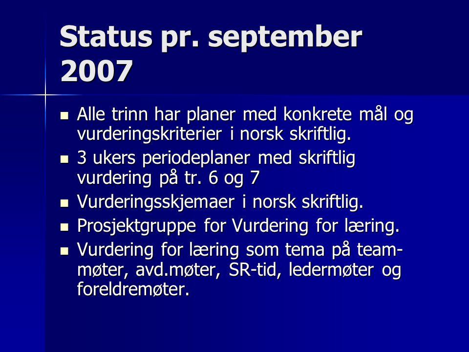 Status pr. september 2007 Alle trinn har planer med konkrete mål og vurderingskriterier i norsk skriftlig. Alle trinn har planer med konkrete mål og v