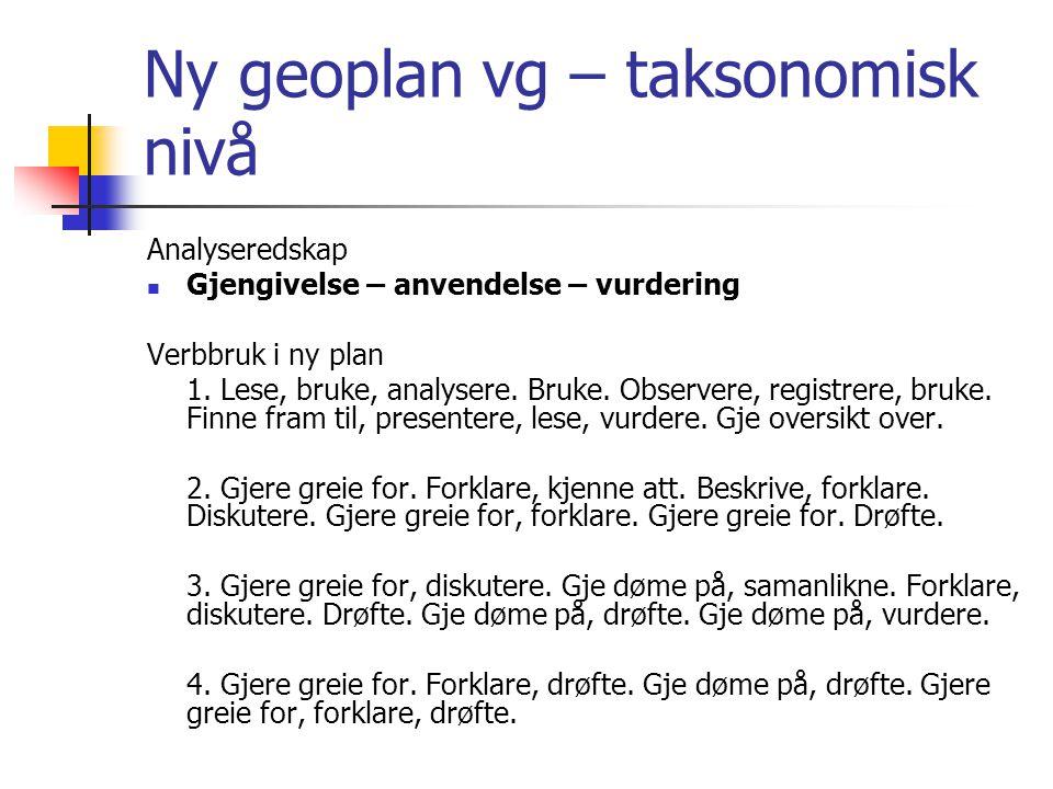 Ny geoplan vg – taksonomisk nivå Analyseredskap Gjengivelse – anvendelse – vurdering Verbbruk i ny plan 1. Lese, bruke, analysere. Bruke. Observere, r