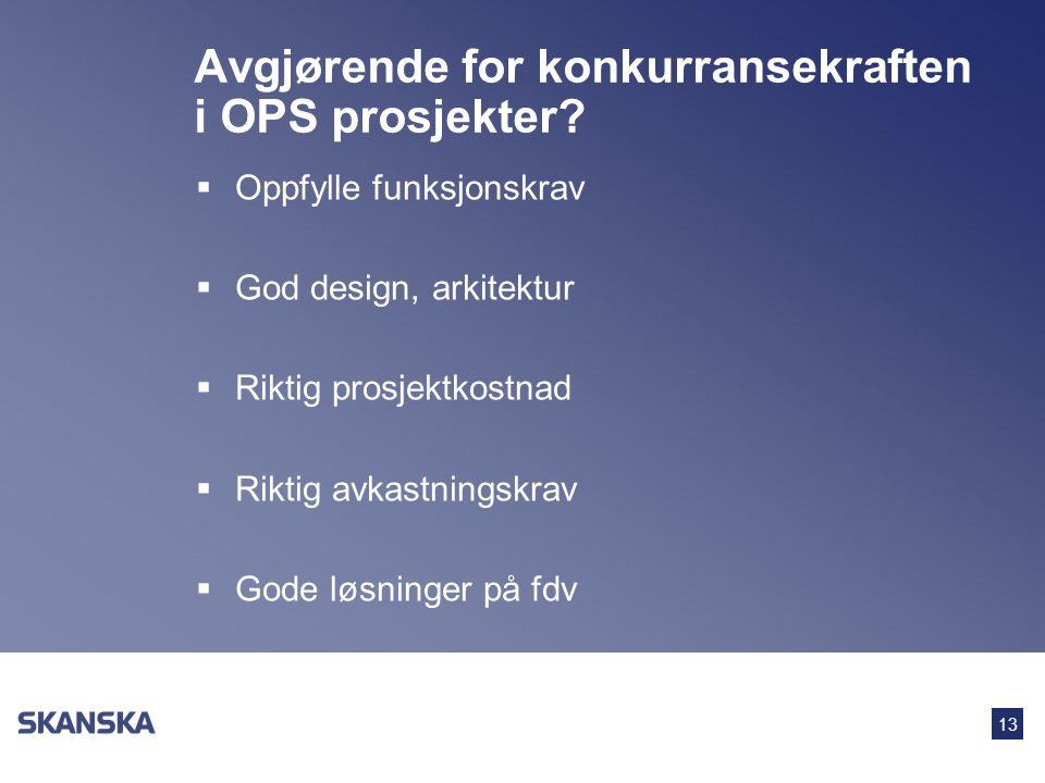 13 Avgjørende for konkurransekraften i OPS prosjekter?  Oppfylle funksjonskrav  God design, arkitektur  Riktig prosjektkostnad  Riktig avkastnings