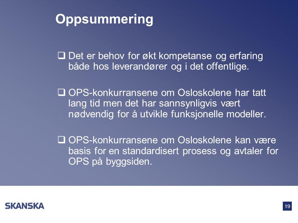 19 Oppsummering  Det er behov for økt kompetanse og erfaring både hos leverandører og i det offentlige.  OPS-konkurransene om Osloskolene har tatt l