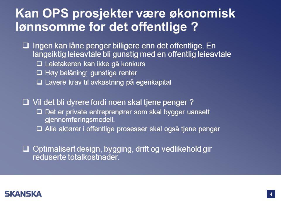 4 Kan OPS prosjekter være økonomisk lønnsomme for det offentlige ?  Ingen kan låne penger billigere enn det offentlige. En langsiktig leieavtale bli