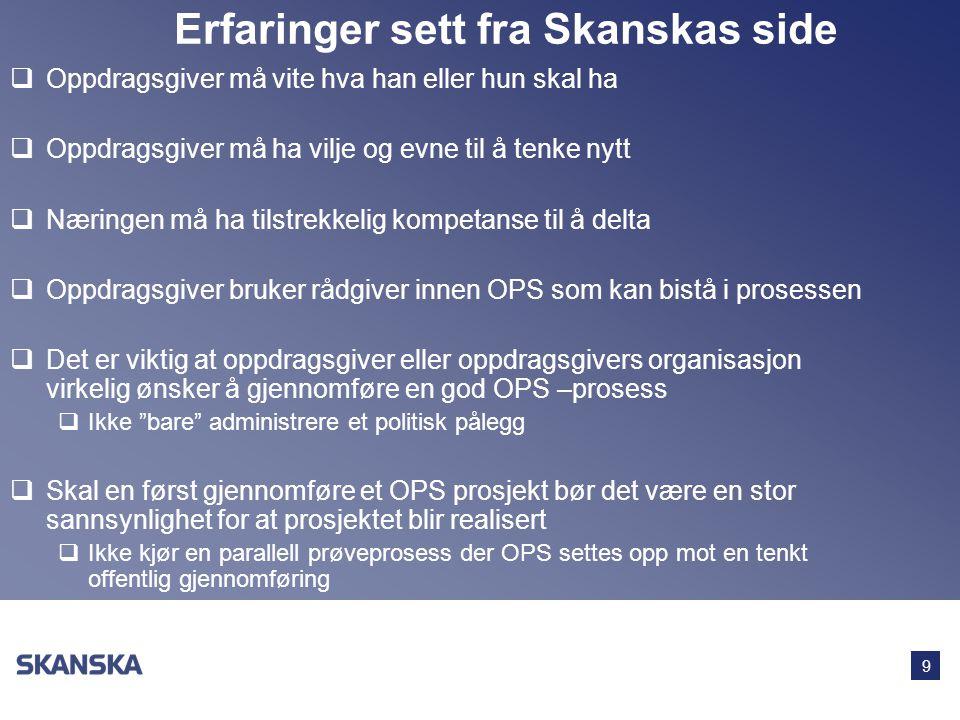 9 Erfaringer sett fra Skanskas side  Oppdragsgiver må vite hva han eller hun skal ha  Oppdragsgiver må ha vilje og evne til å tenke nytt  Næringen