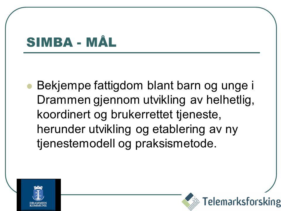 SIMBA - MÅL Bekjempe fattigdom blant barn og unge i Drammen gjennom utvikling av helhetlig, koordinert og brukerrettet tjeneste, herunder utvikling og