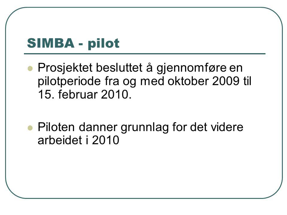 SIMBA - pilot Prosjektet besluttet å gjennomføre en pilotperiode fra og med oktober 2009 til 15. februar 2010. Piloten danner grunnlag for det videre