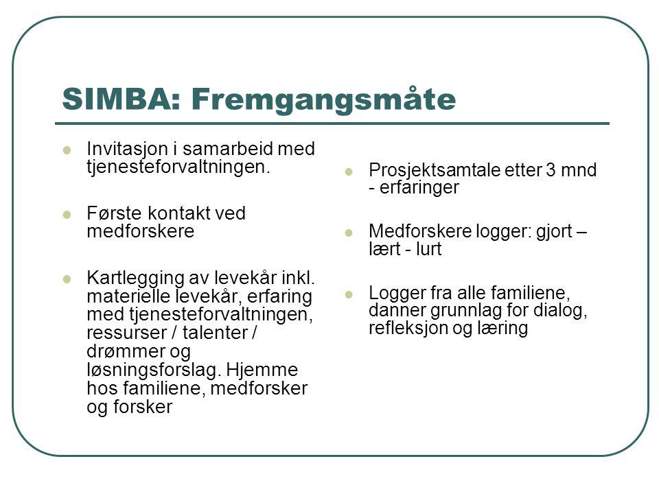 SIMBA: Fremgangsmåte Invitasjon i samarbeid med tjenesteforvaltningen. Første kontakt ved medforskere Kartlegging av levekår inkl. materielle levekår,