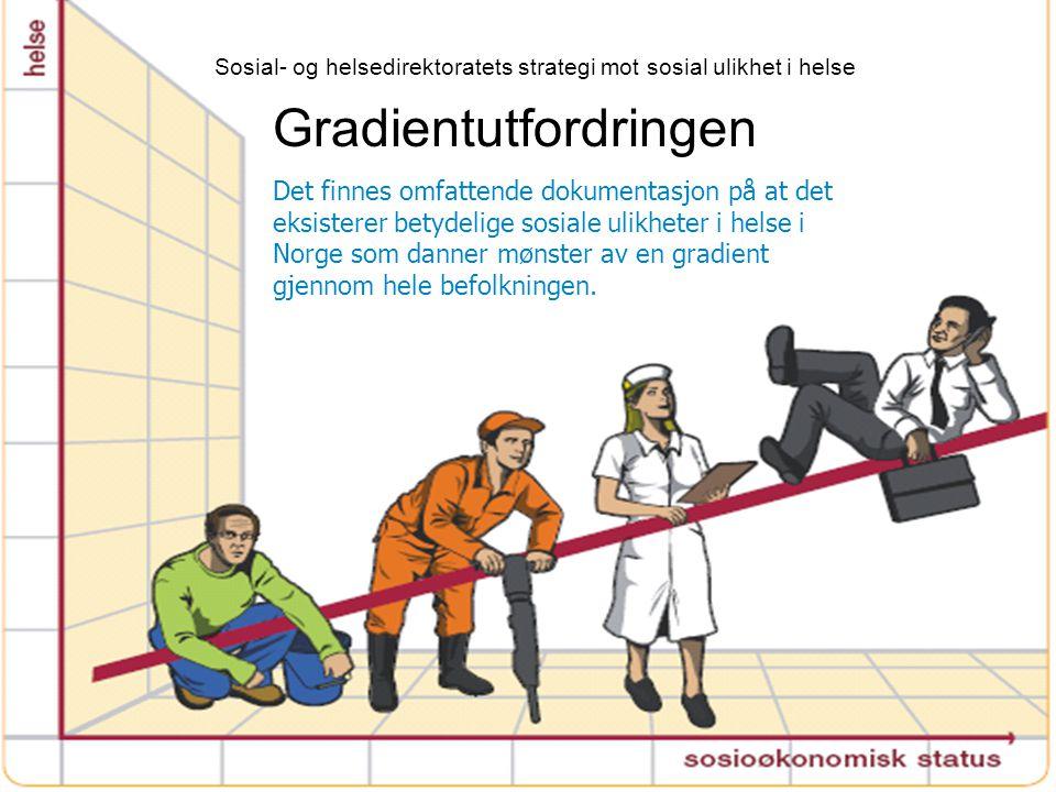 Gradientutfordringen Det finnes omfattende dokumentasjon på at det eksisterer betydelige sosiale ulikheter i helse i Norge som danner mønster av en gr