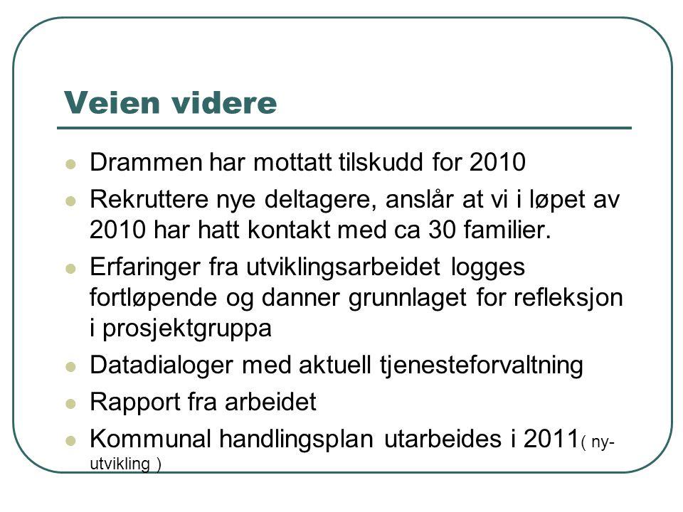 Veien videre Drammen har mottatt tilskudd for 2010 Rekruttere nye deltagere, anslår at vi i løpet av 2010 har hatt kontakt med ca 30 familier. Erfarin