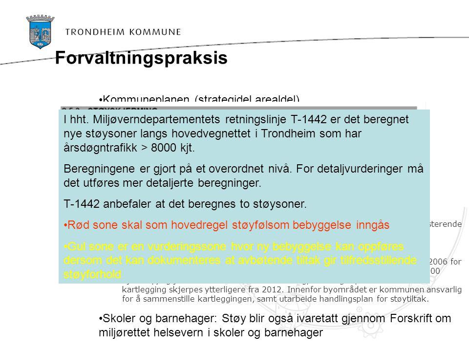 Forvaltningspraksis Kommuneplanen (strategidel,arealdel) Reguleringsplaner (NS 8175 / T1442) Ikke innarbeidet regime der støysoneberegningene fra priv
