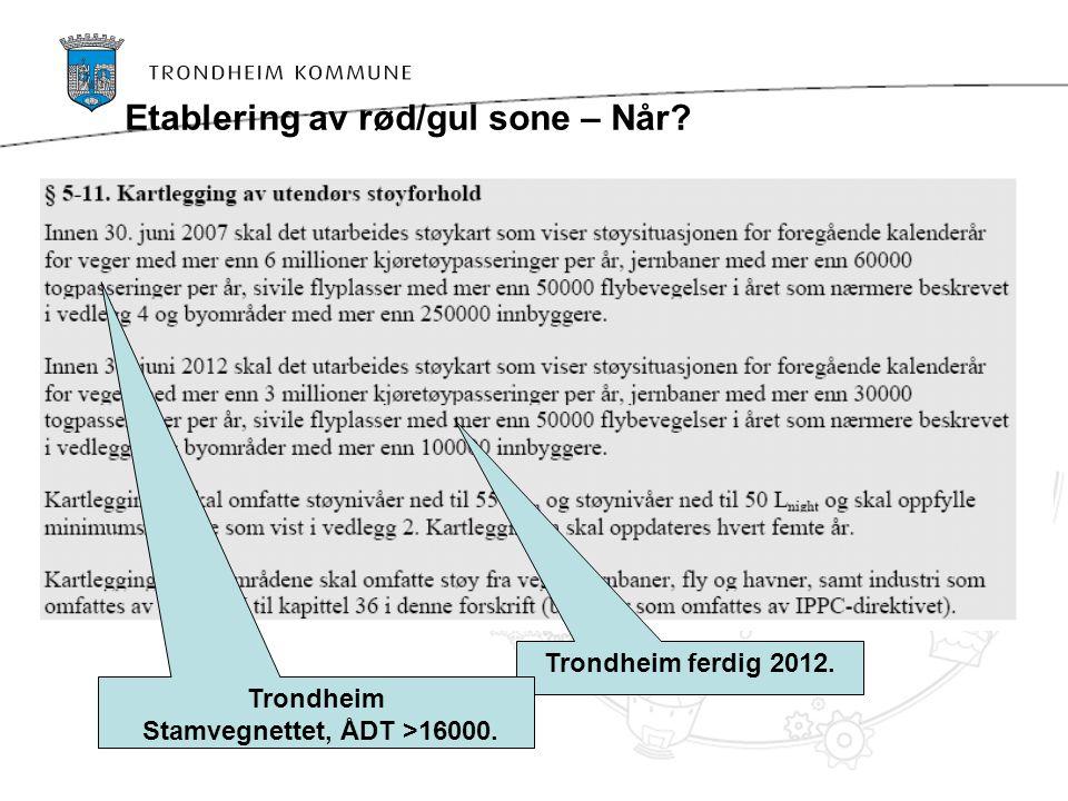 Trondheim ferdig 2012. Etablering av rød/gul sone – Når? Trondheim Stamvegnettet, ÅDT >16000.