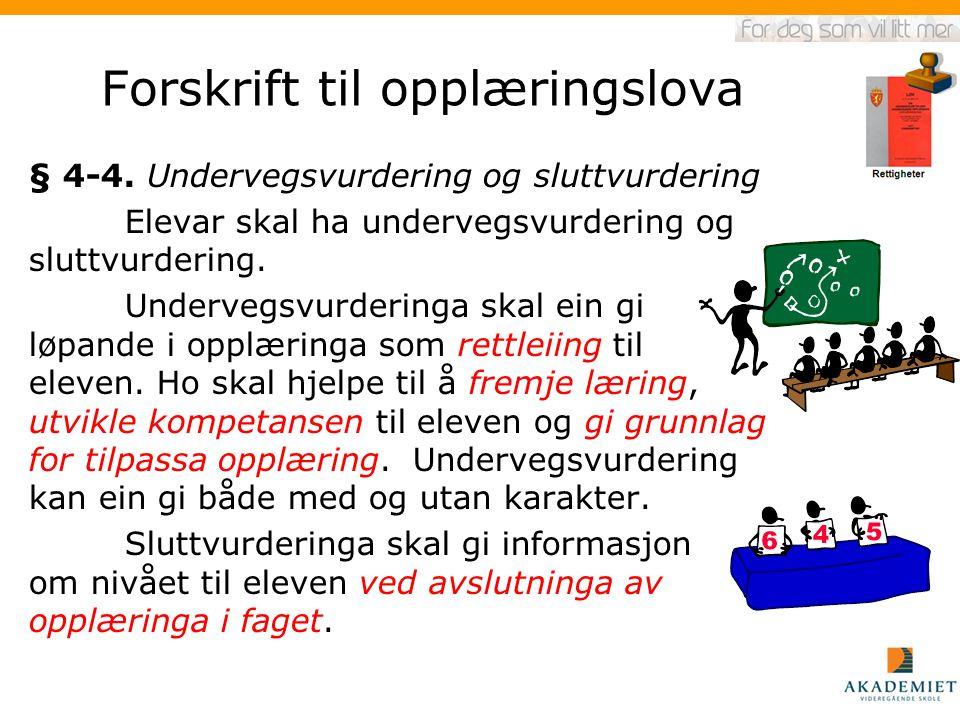 Forskrift til opplæringslova § 4-4. Undervegsvurdering og sluttvurdering Elevar skal ha undervegsvurdering og sluttvurdering. Undervegsvurderinga skal