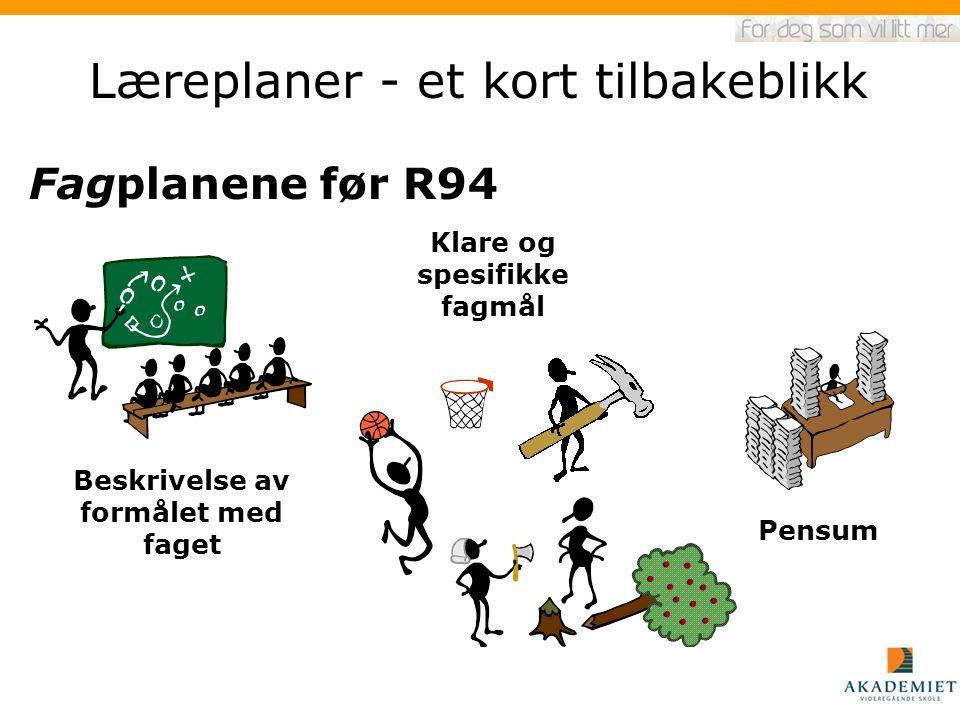 Læreplaner - et kort tilbakeblikk Klare og spesifikke fagmål Beskrivelse av formålet med faget Pensum Fagplanene før R94
