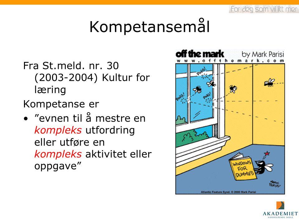 """Kompetansemål Fra St.meld. nr. 30 (2003-2004) Kultur for læring Kompetanse er """"evnen til å mestre en kompleks utfordring eller utføre en kompleks akti"""