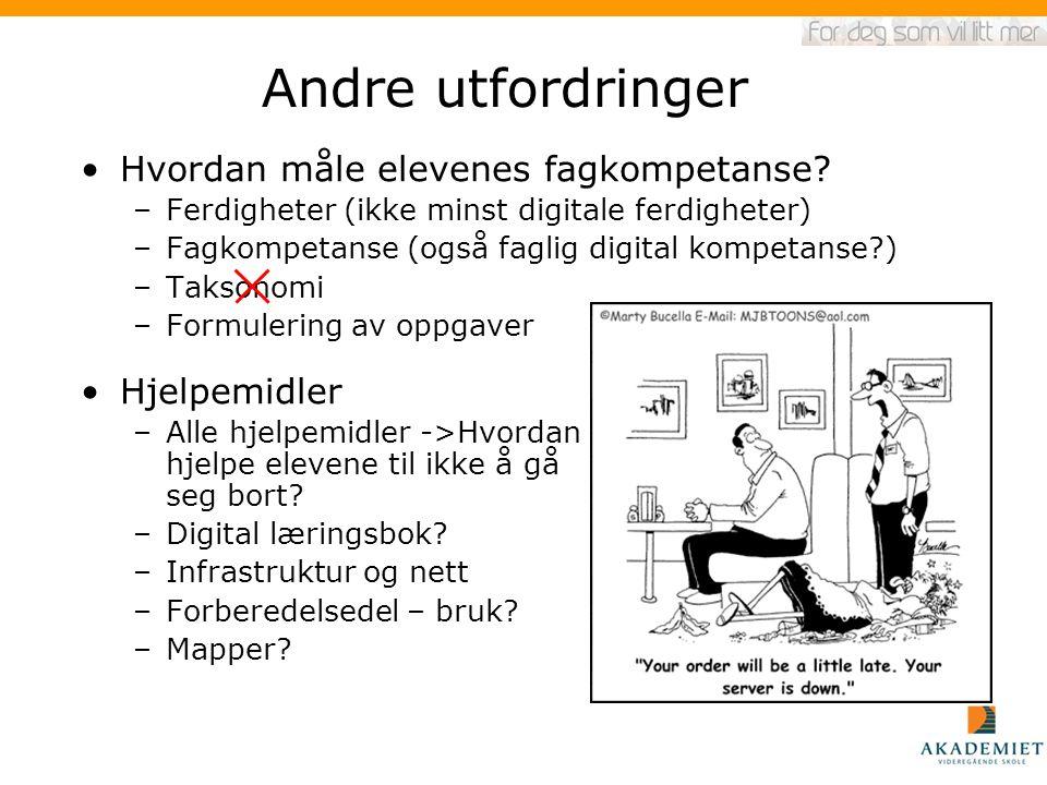 Andre utfordringer Hvordan måle elevenes fagkompetanse? –Ferdigheter (ikke minst digitale ferdigheter) –Fagkompetanse (også faglig digital kompetanse?