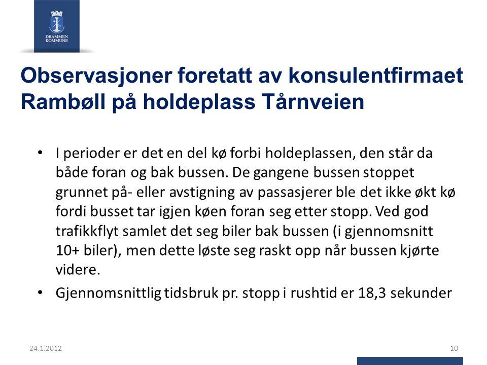 Observasjoner foretatt av konsulentfirmaet Rambøll på holdeplass Tårnveien I perioder er det en del kø forbi holdeplassen, den står da både foran og bak bussen.