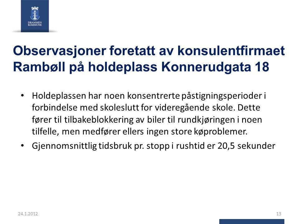 Observasjoner foretatt av konsulentfirmaet Rambøll på holdeplass Konnerudgata 18 Holdeplassen har noen konsentrerte påstigningsperioder i forbindelse med skoleslutt for videregående skole.