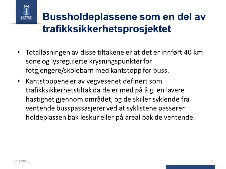 Valg av type holdeplass ÅDT30-40 km/t50 km/t60 km/t70 km/t ++ 0 – 1.500Kantstopp 1.500 – 4.000Kantstopp Kantstopp / Lomme Tofelt 4-12.000Kantstopp Lomme Tofelt over 12.000Lomme Firefelt over 15.000Kantstopp Lomme 24.1.20127 Statens vegvesens håndbok 232: Tilrettelegging for kollektivtransport på veg I by og tettbebyggelse: