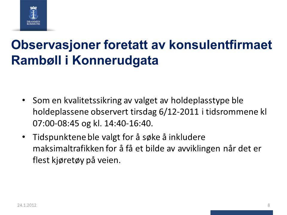 Observasjoner foretatt av konsulentfirmaet Rambøll i Konnerudgata Som en kvalitetssikring av valget av holdeplasstype ble holdeplassene observert tirsdag 6/12-2011 i tidsrommene kl 07:00-08:45 og kl.