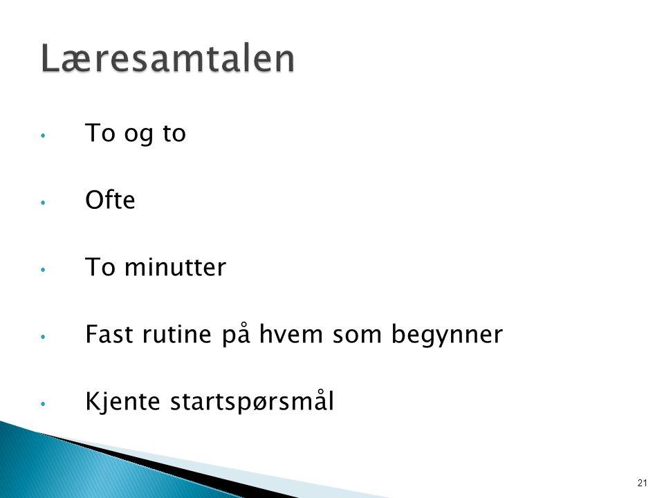 To og to Ofte To minutter Fast rutine på hvem som begynner Kjente startspørsmål 21