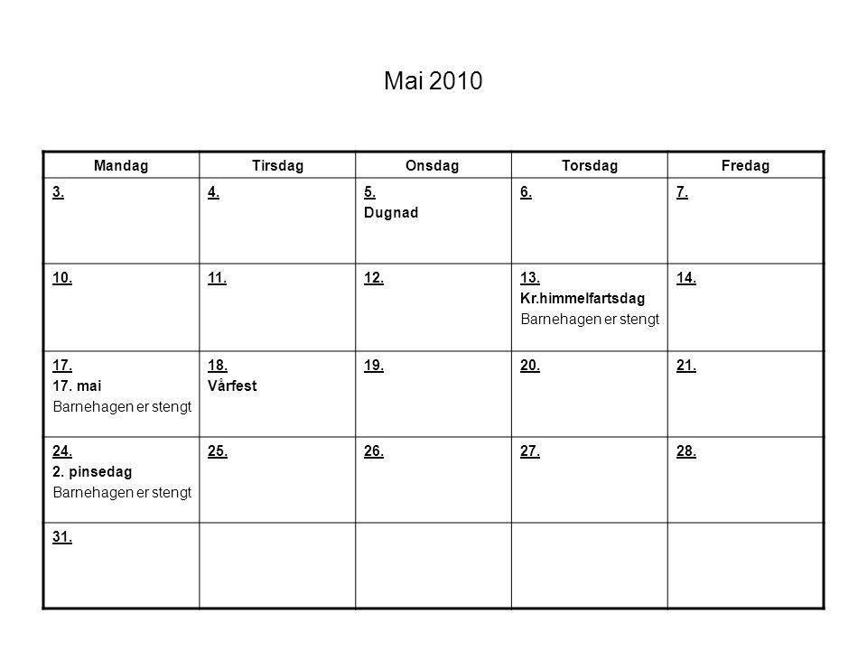 Mai 2010 MandagTirsdagOnsdagTorsdagFredag 3.4.5. Dugnad 6.7. 10.11.12.13. Kr.himmelfartsdag Barnehagen er stengt 14. 17. 17. mai Barnehagen er stengt