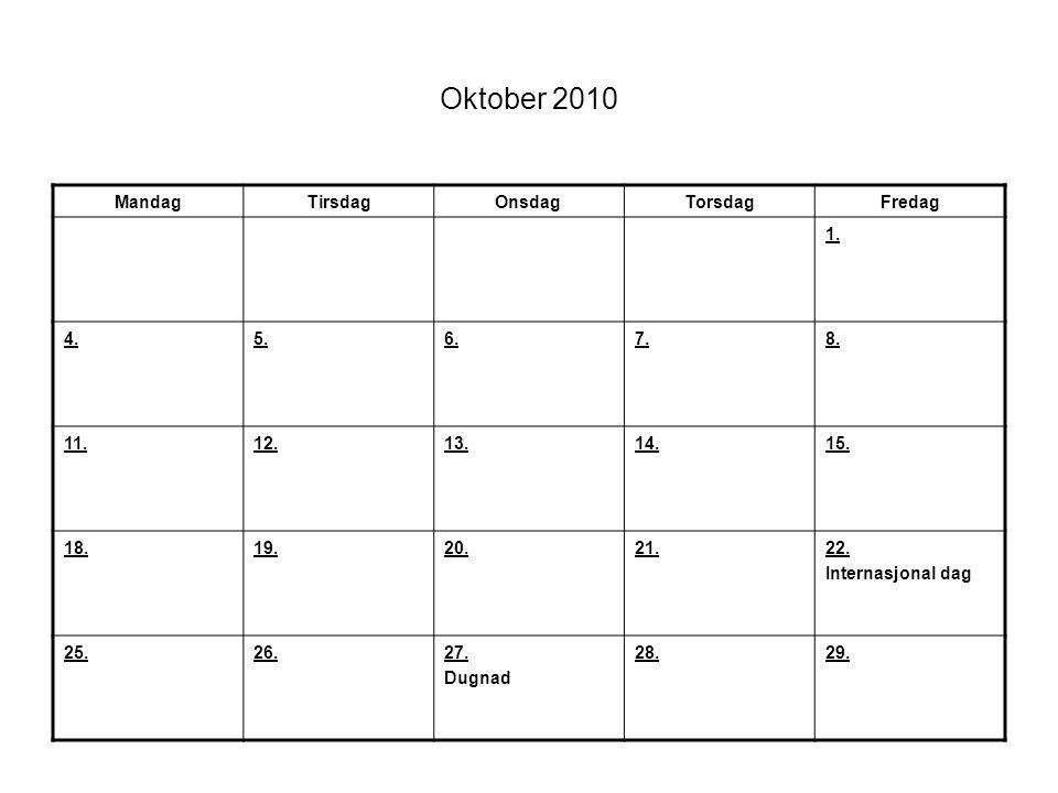 Oktober 2010 MandagTirsdagOnsdagTorsdagFredag 1. 4.5.6.7.8. 11.12.13.14.15. 18.19.20.21.22. Internasjonal dag 25.26.27. Dugnad 28.29.