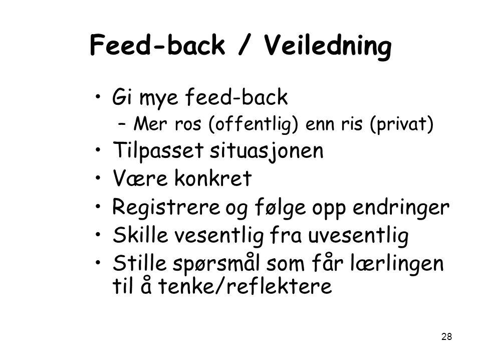28 Feed-back / Veiledning Gi mye feed-back –Mer ros (offentlig) enn ris (privat) Tilpasset situasjonen Være konkret Registrere og følge opp endringer