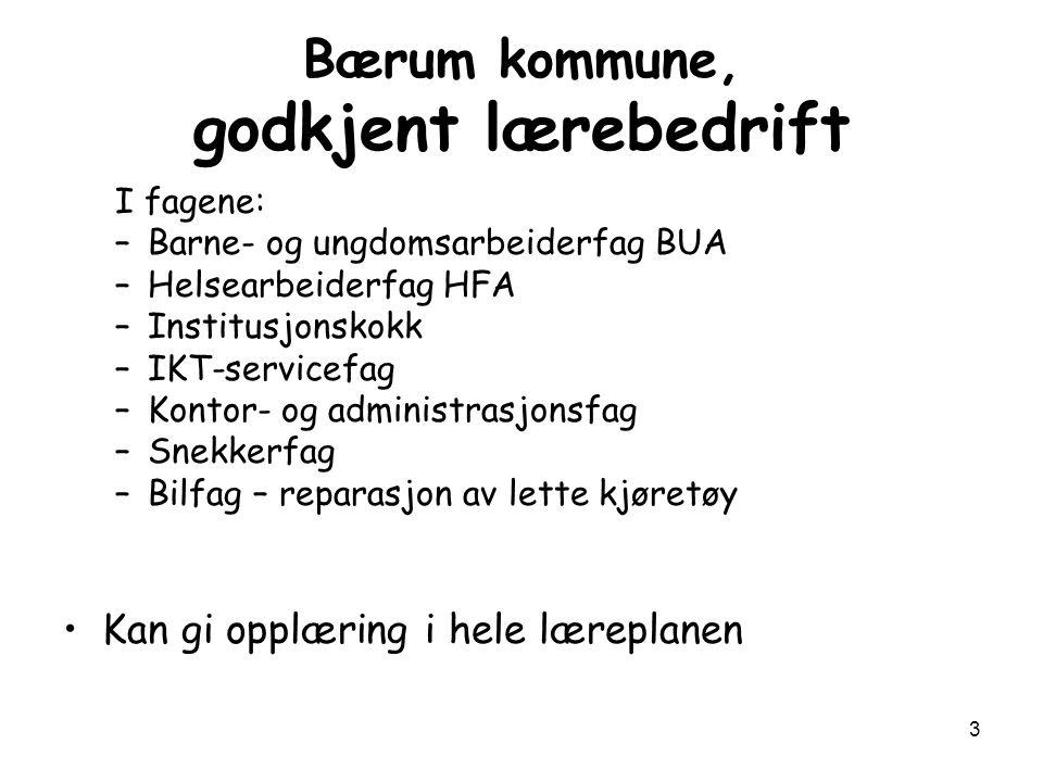 3 Bærum kommune, godkjent lærebedrift I fagene: –Barne- og ungdomsarbeiderfag BUA –Helsearbeiderfag HFA –Institusjonskokk –IKT-servicefag –Kontor- og
