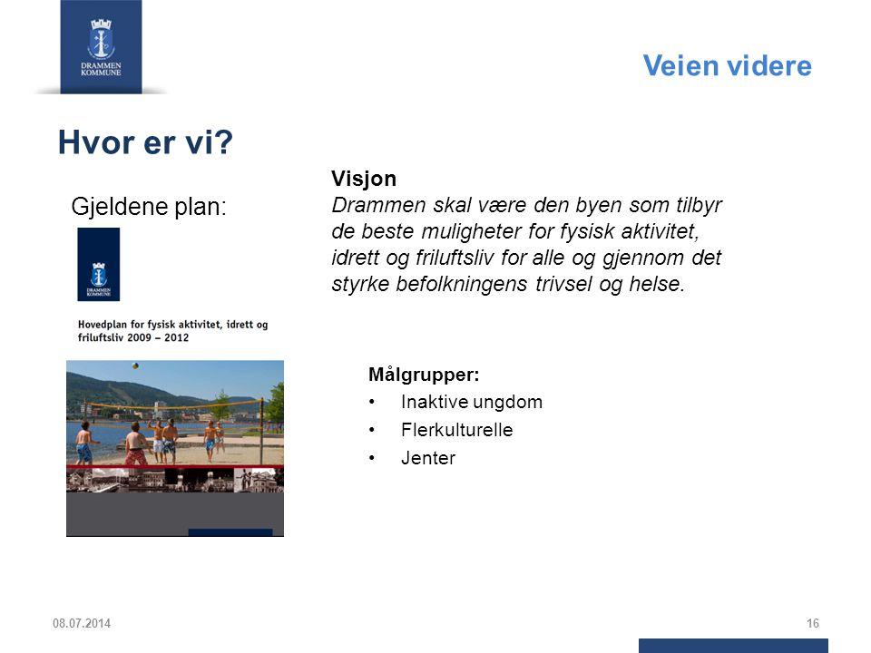 Hvor er vi? Målgrupper: Inaktive ungdom Flerkulturelle Jenter 08.07.201416 Visjon Drammen skal være den byen som tilbyr de beste muligheter for fysisk