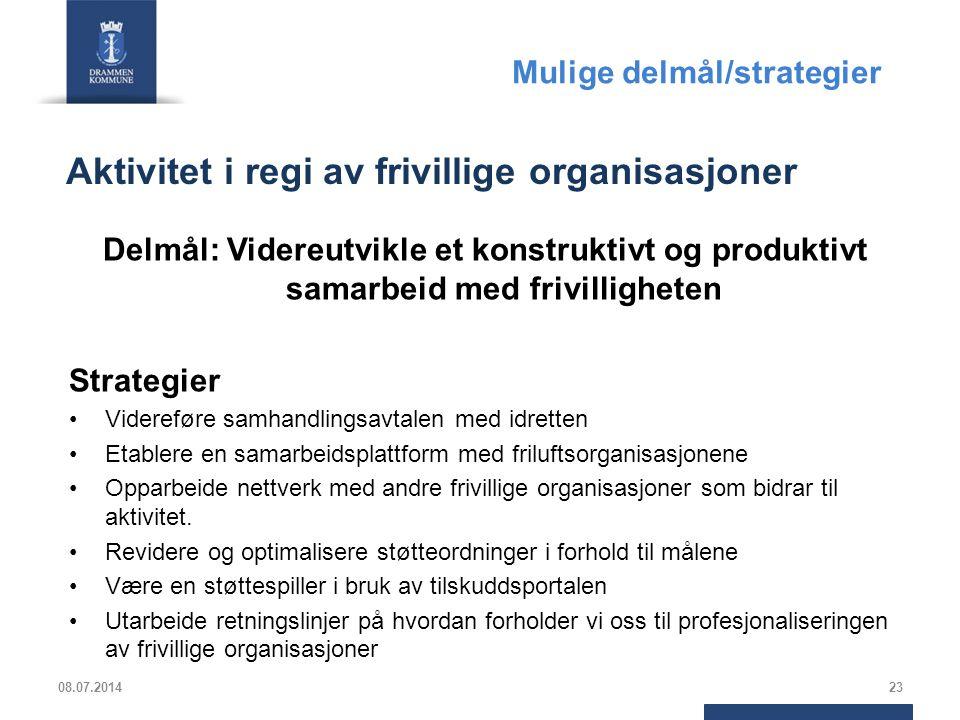 Aktivitet i regi av frivillige organisasjoner Delmål: Videreutvikle et konstruktivt og produktivt samarbeid med frivilligheten Strategier Videreføre s