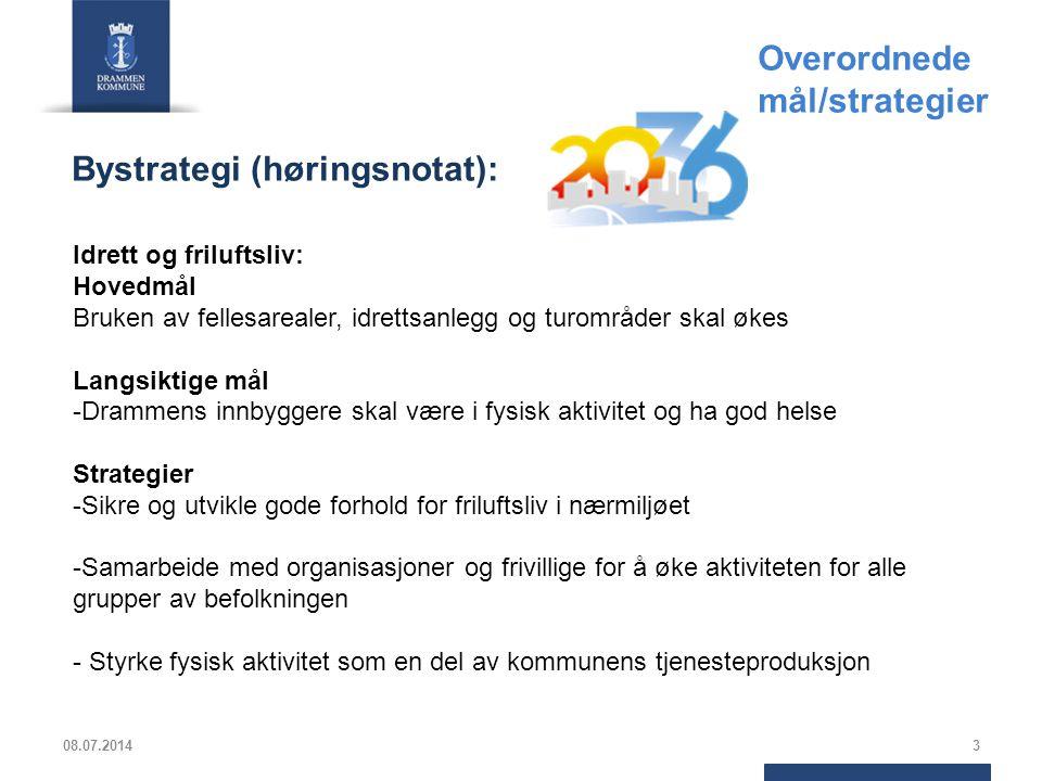 3 Idrett og friluftsliv: Hovedmål Bruken av fellesarealer, idrettsanlegg og turområder skal økes Langsiktige mål -Drammens innbyggere skal være i fysi