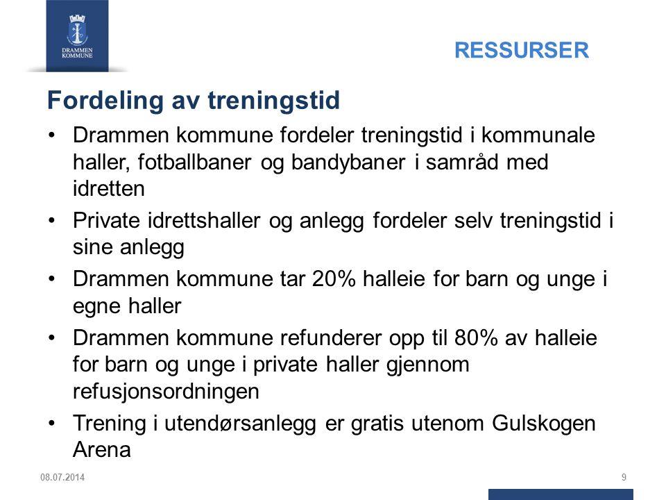 Fordeling av treningstid Drammen kommune fordeler treningstid i kommunale haller, fotballbaner og bandybaner i samråd med idretten Private idrettshall