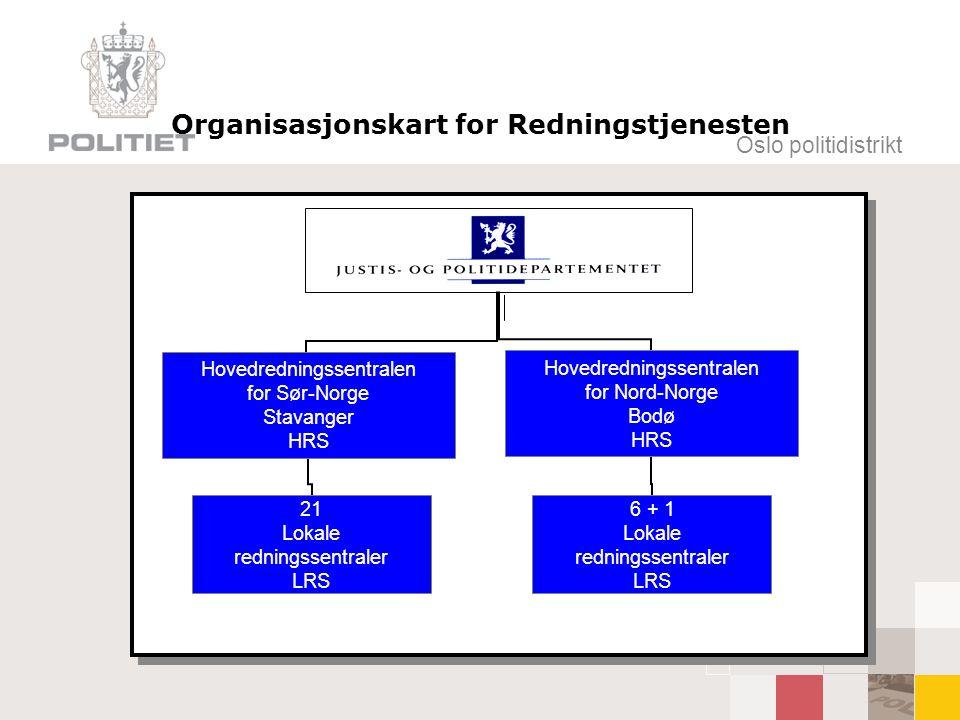 Oslo politidistrikt Organisasjonskart for Redningstjenesten Hovedredningssentralen for Sør-Norge Stavanger HRS 21 Lokale redningssentraler LRS Hovedre