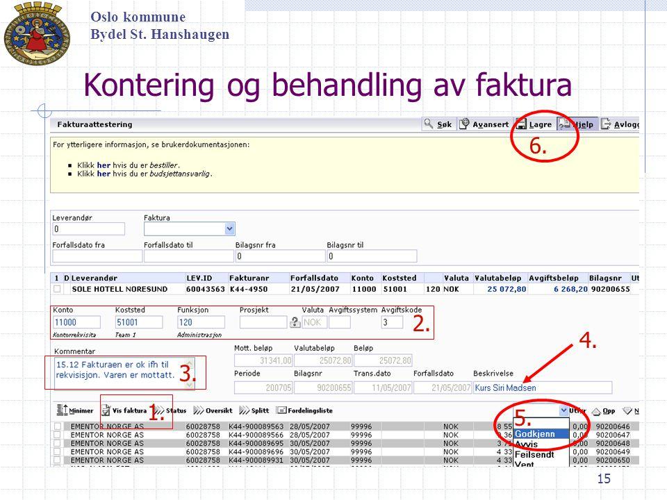 15 Kontering og behandling av faktura Oslo kommune Bydel St. Hanshaugen 1. 2. 3. 4. 5. 6.