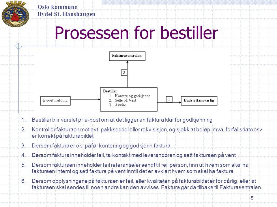 5 Oslo kommune Bydel St. Hanshaugen Prosessen for bestiller 1.Bestiller blir varslet pr e-post om at det ligger en faktura klar for godkjenning 2.Kont