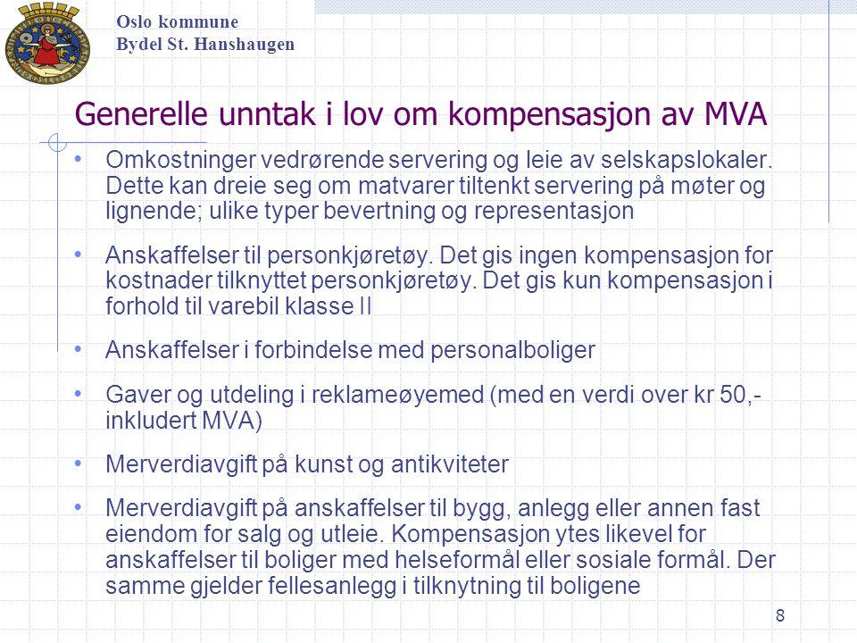 8 Generelle unntak i lov om kompensasjon av MVA Omkostninger vedrørende servering og leie av selskapslokaler. Dette kan dreie seg om matvarer tiltenkt