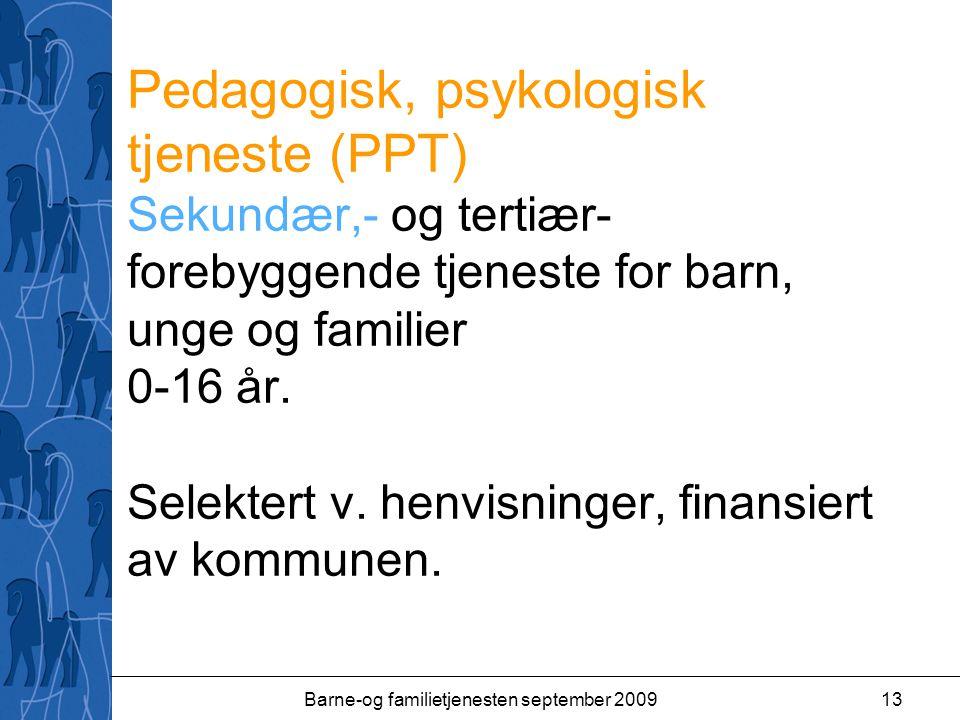 Barne-og familietjenesten september 200913 Pedagogisk, psykologisk tjeneste (PPT) Sekundær,- og tertiær- forebyggende tjeneste for barn, unge og famil
