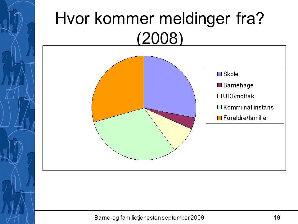 Barne-og familietjenesten september 200919 Hvor kommer meldinger fra? (2008)