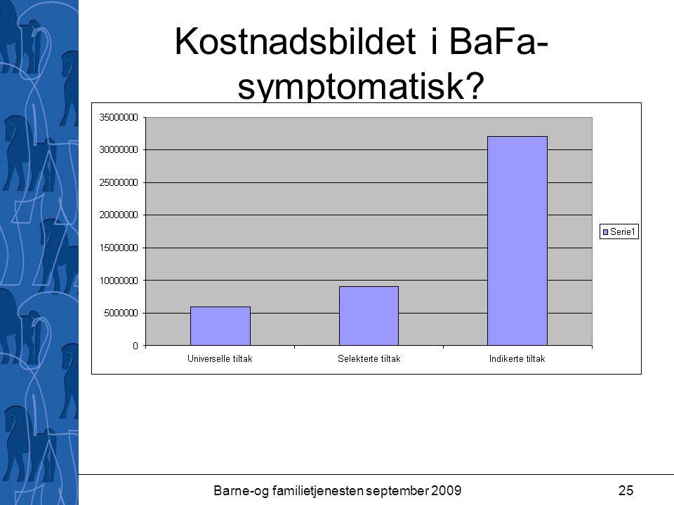 Barne-og familietjenesten september 200925 Kostnadsbildet i BaFa- symptomatisk?