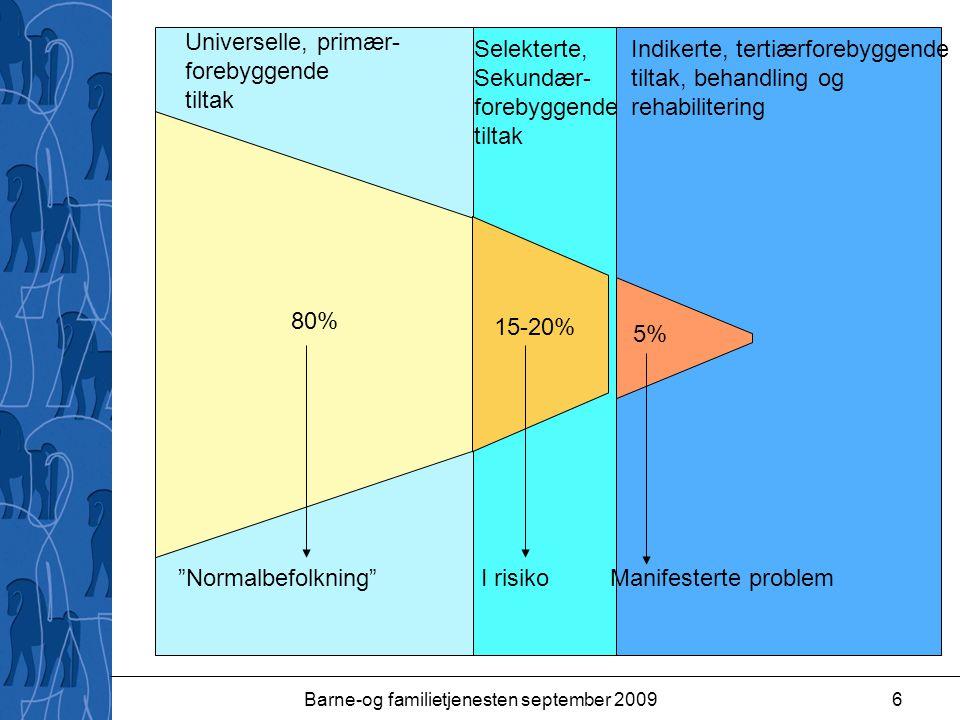 "Barne-og familietjenesten september 20096 80% 15-20% 5% ""Normalbefolkning"" I risiko Manifesterte problem Universelle, primær- forebyggende tiltak Sele"