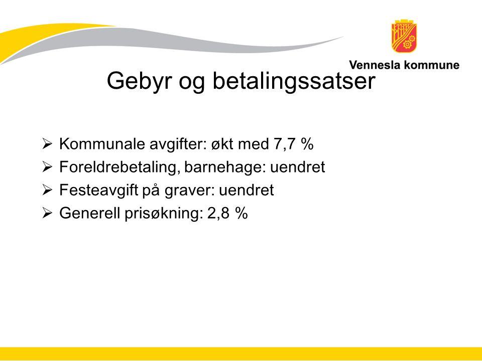 Gebyr og betalingssatser  Kommunale avgifter: økt med 7,7 %  Foreldrebetaling, barnehage: uendret  Festeavgift på graver: uendret  Generell prisøkning: 2,8 %