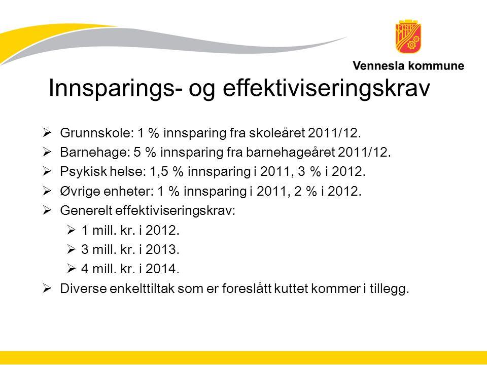 Innsparings- og effektiviseringskrav  Grunnskole: 1 % innsparing fra skoleåret 2011/12.