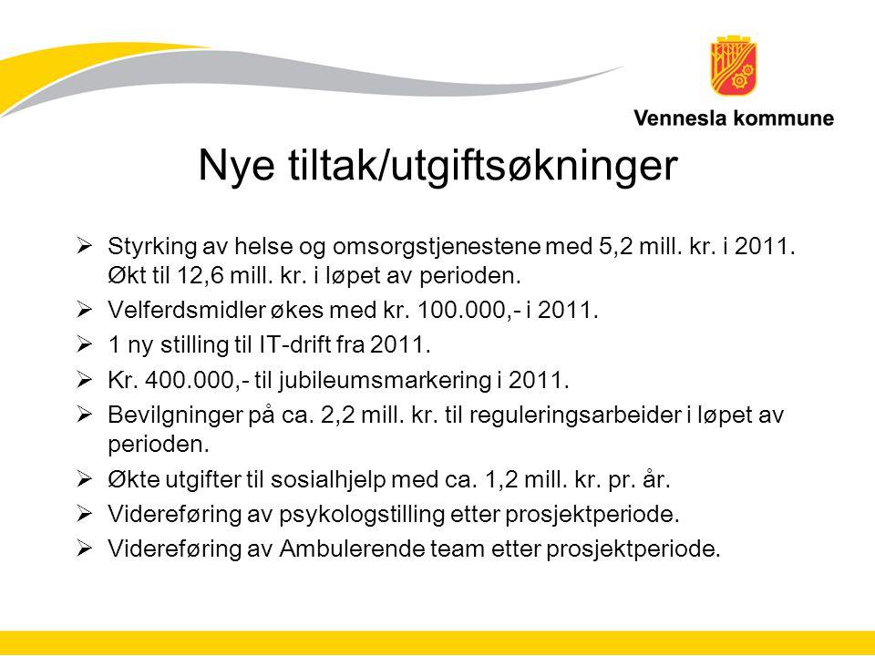 Nye tiltak/utgiftsøkninger  Styrking av helse og omsorgstjenestene med 5,2 mill.