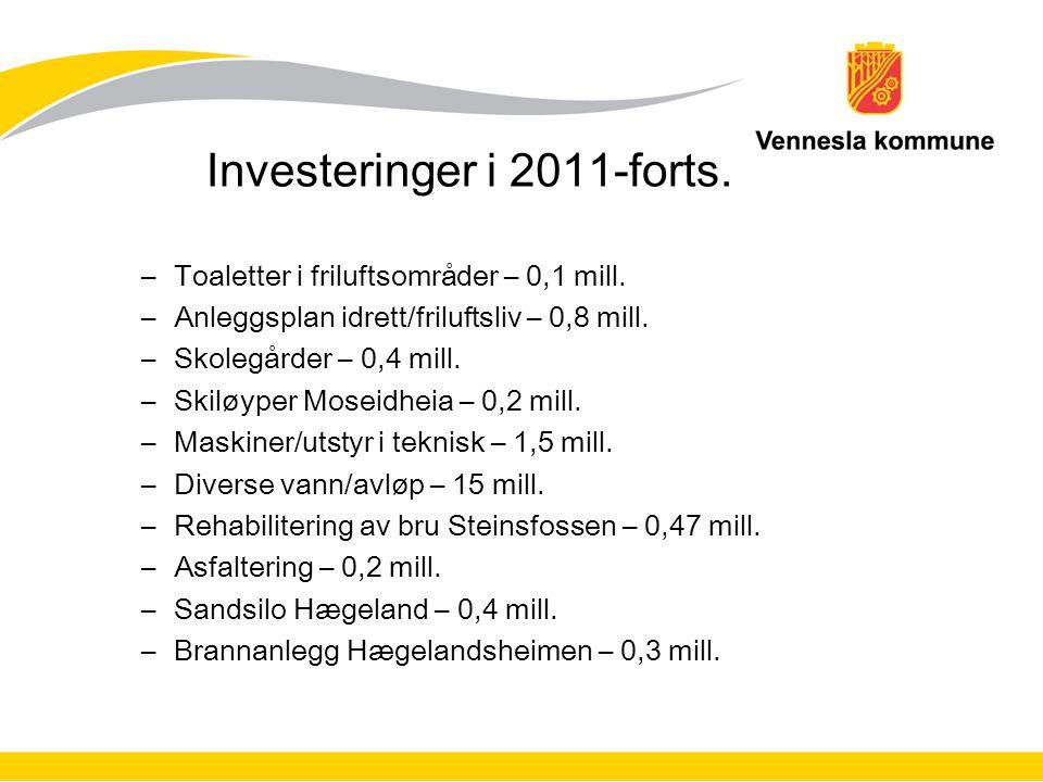 Investeringer i 2011-forts. –Toaletter i friluftsområder – 0,1 mill.