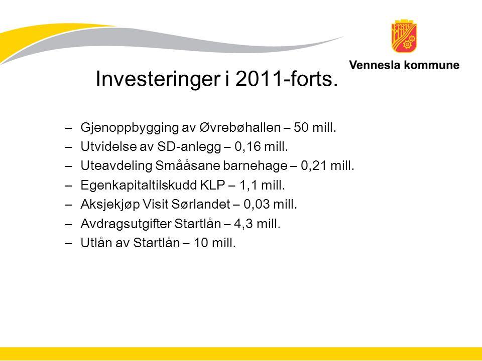 Investeringer i 2011-forts. –Gjenoppbygging av Øvrebøhallen – 50 mill.