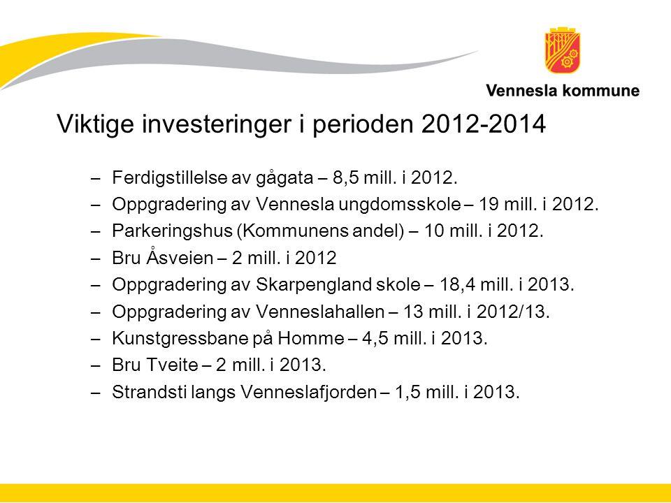 Viktige investeringer i perioden 2012-2014 –Ferdigstillelse av gågata – 8,5 mill.