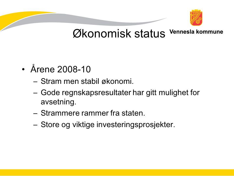 Økonomisk status Årene 2008-10 –Stram men stabil økonomi.