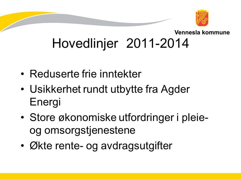 Hovedlinjer 2011-2014 Innsparingstiltak: Ca.2,5 mill.